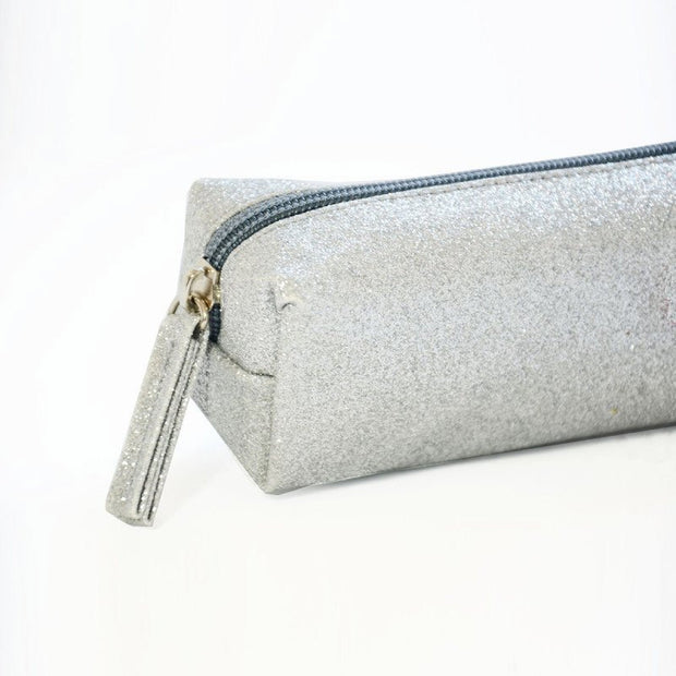 Pencil case for children grey glitter