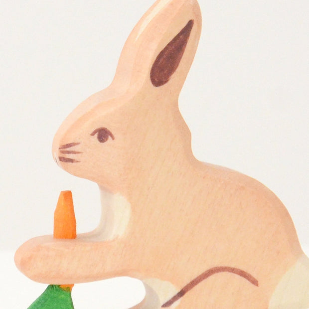 Handmade Wooden Rabbit with a carrot