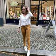 HAPPY - Joy chino trousers - mustard - made in France - comfortable and feminine