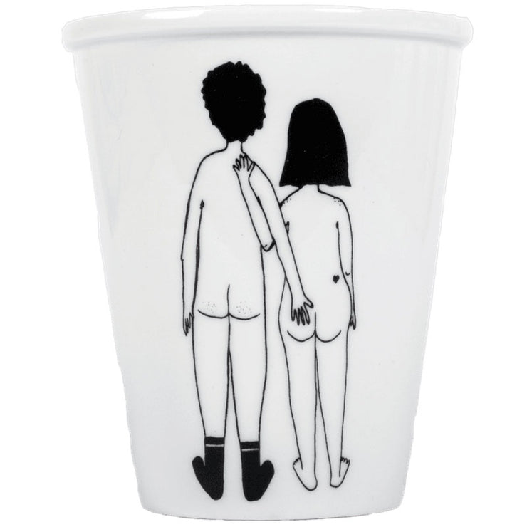 """Naked couple back"" cup"