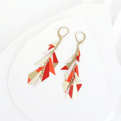 Sioux earrings - Light pink, tangerine and carmine