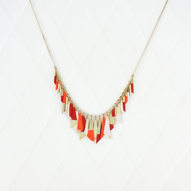 Sioux necklace - Light pink, tangerine and carmine