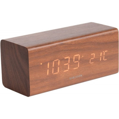 KARLSSON - block alarm clock - dark wood - design and natural - gift idea