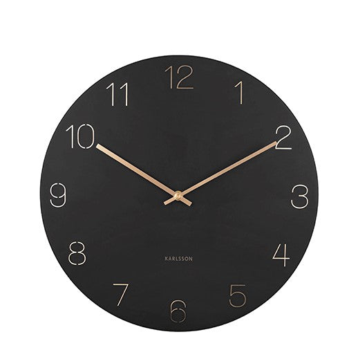 KARLSSON - engraved numbers clock - black - design and modern wall decoration