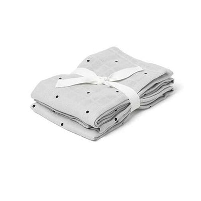 LIEWOOD - Set of 2  organic cotton grey swaddles with dots