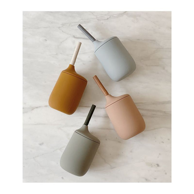 LIEWOOD - Silicon sippy cup with straw - dark rose & terracotta