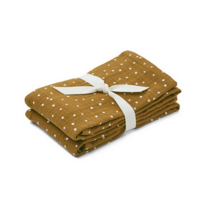 LIEWOOD - Set of two muslin cloths for babies made from organic cotton - Confetti olive