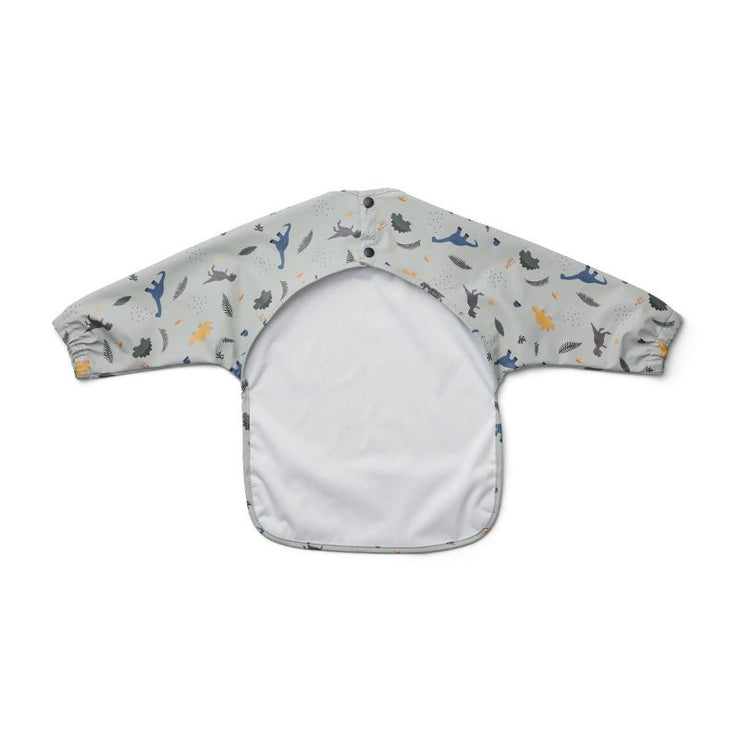 LIEWOOD - Cape bib for baby - dino dove blue mix - long sleeves and water repellent