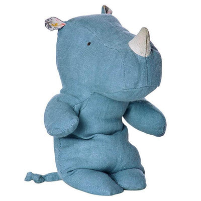 MAILEG - Rhino soft toy in linen and cotton - Blue