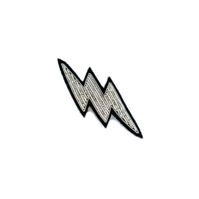 Embroidered brooch - Small silver lightning