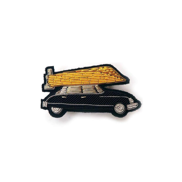 Embroidered brooch - French retro car