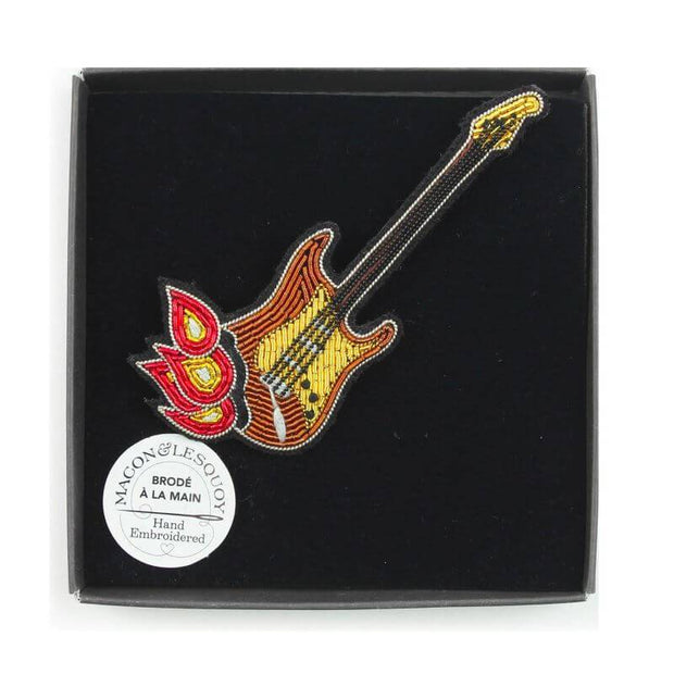 Embroidered brooch - Burning guitar