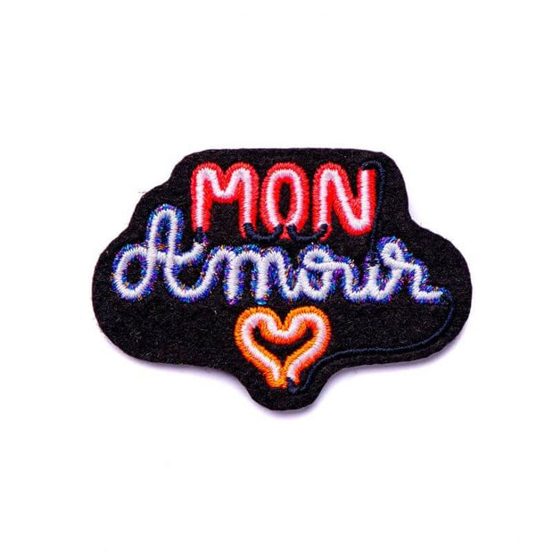 Embroidered patch - Mon amour neon