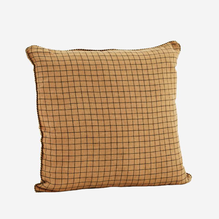 "Cushion cover ""Checked linen"" - Dusty orange"