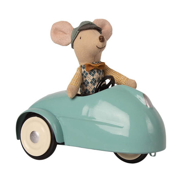 MAILEG - Big brother mouse - blue garage with wooden car - vintage and cute toy