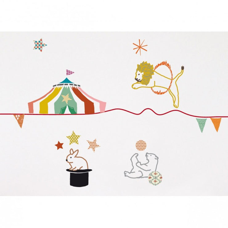 Mimilou - Wallborder for kids bedroom - circus - fun and colourful animals - made in france