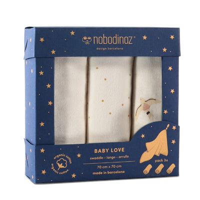 Nobodinoz - Set of 3 cotton swaddles baby love - haiku birds - made in France and Spain