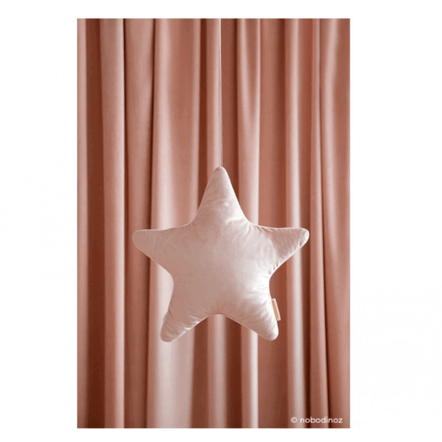 Nobodinoz - Velvet star cushion - bloom pink - beautiful and cute