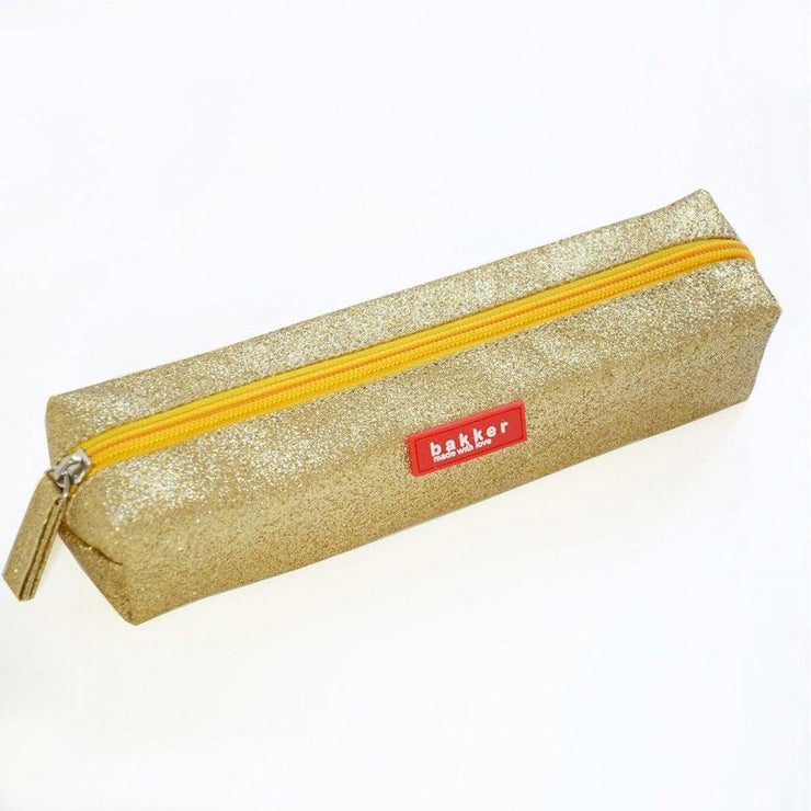 Pencil case Bakker made with love - gold glitter