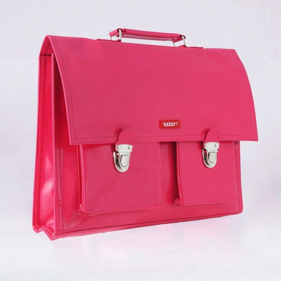Childrens vinyl school pink satchel
