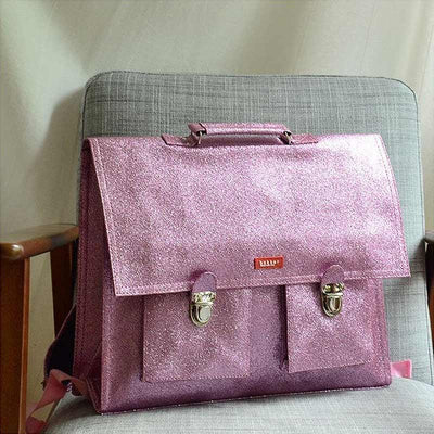 Pink glitter school satchel - Bakker Made With Love