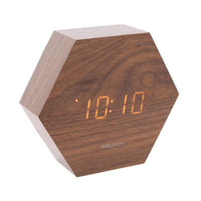 Hexagon alarm clock - Dark wood
