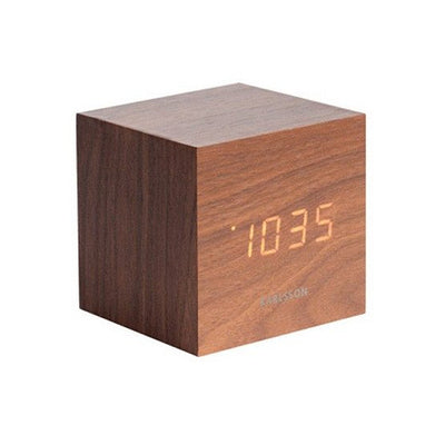 Mini cube alarm clock - Dark wood
