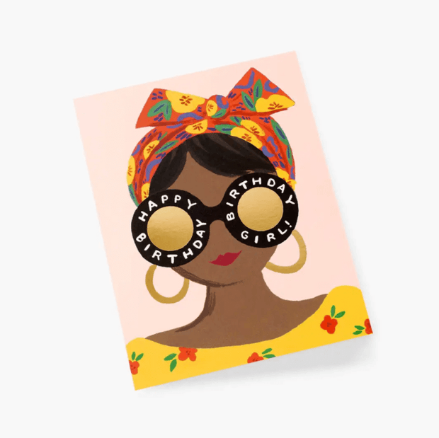 Birthday card - Scarf Girl