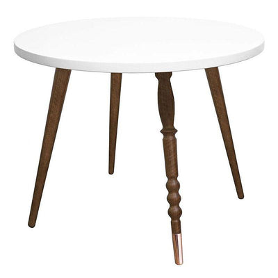"Walnut Round Low Table ""My Lovely Ballerine"" - White"