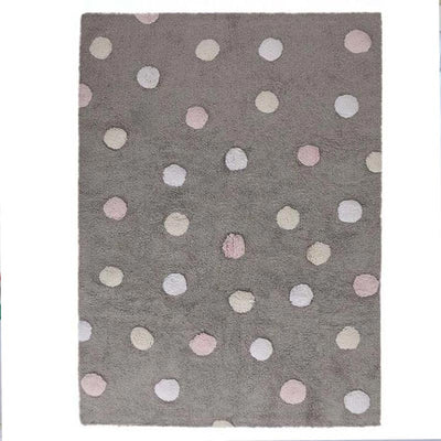 Tricolor dots grey and pink rug