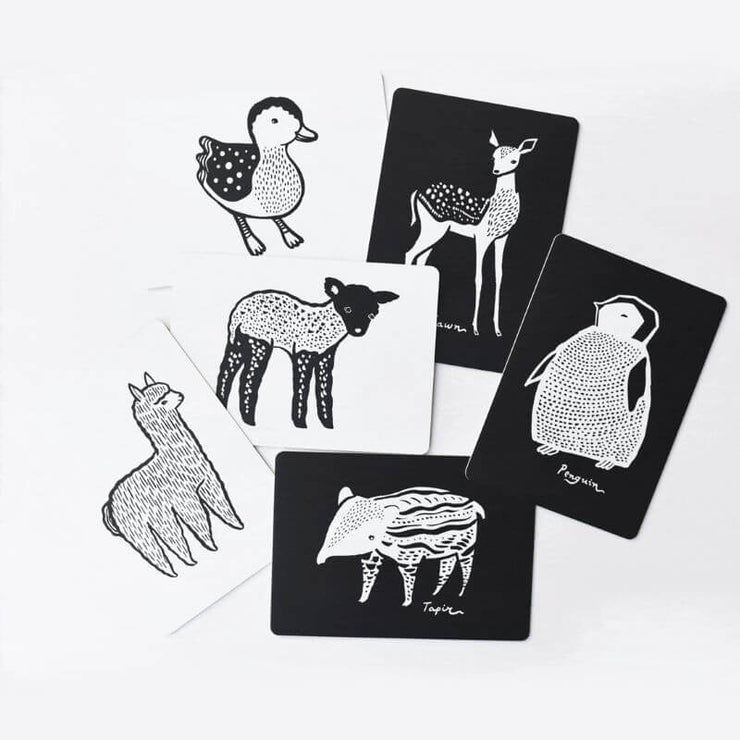 WEE GALLERY - art cards for baby - baby animals - visual perception development