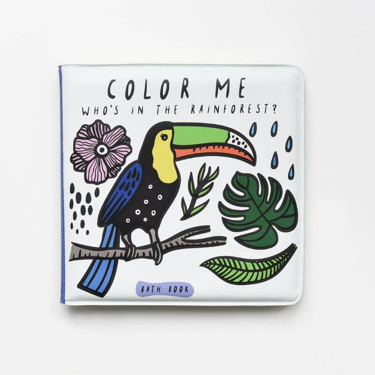 WEE GALLERY - cute bath book for kids - color me rainforest - color changing with water