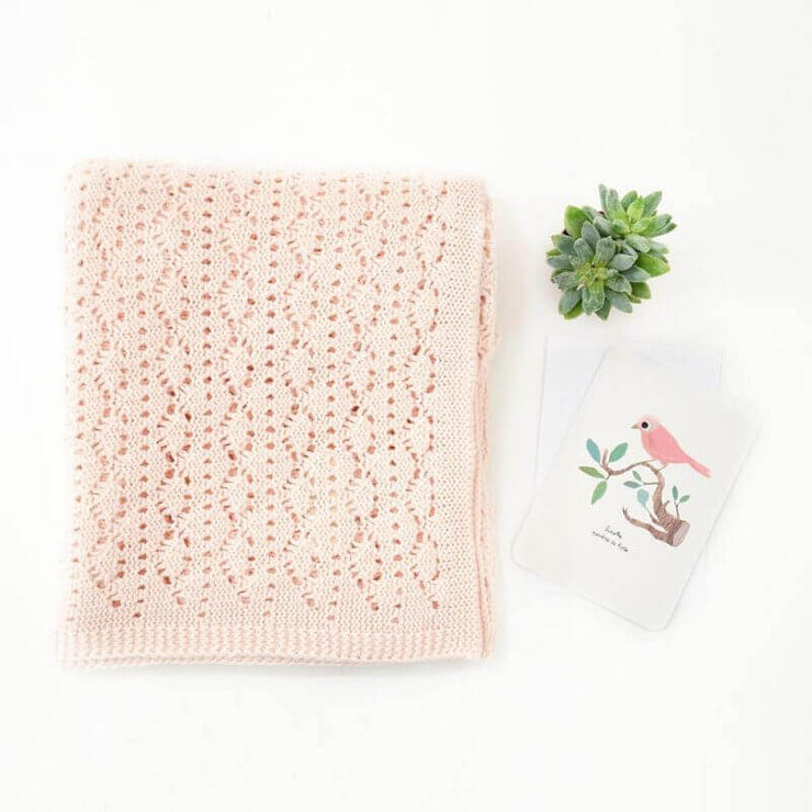ROSE IN APRIL - Crochet knitted baby blanket - Light pink - Birth gift idea