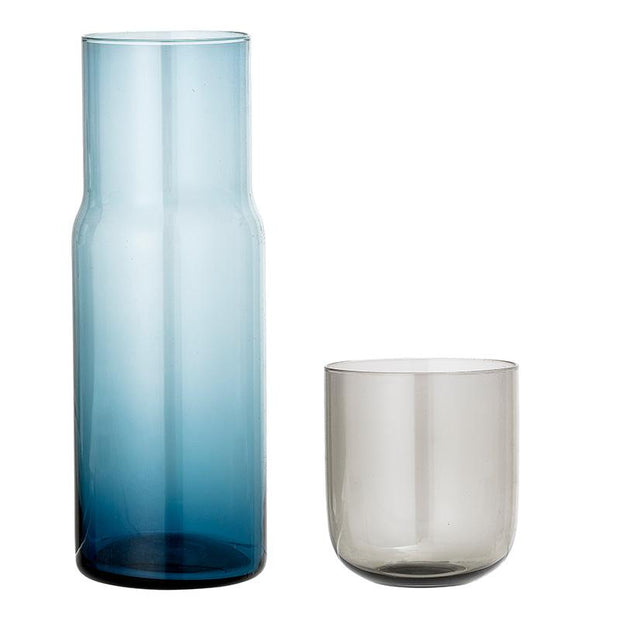 Bottle and glass - Blue and grey