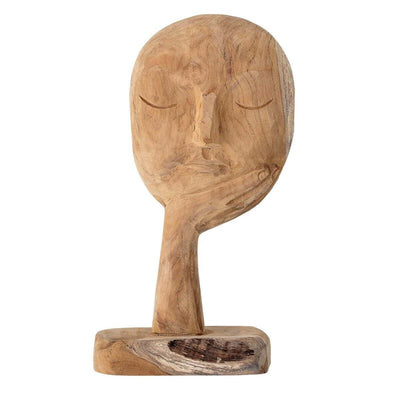 BLOOMINGVILLE - wooden face sculpture - recycled wood - handmade