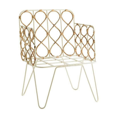 MADAM STOLTZ - Armchair in white metal and bamboo cane
