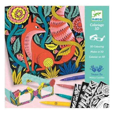 DJECO - Felt pens kit - Fantastic forrest - 3D colouring sheets