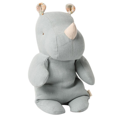 MAILEG - Rhino soft toy in linen and cotton -Grey/Blue