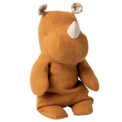 MAILEG - Rhino soft toy in linen and cotton - Ochre