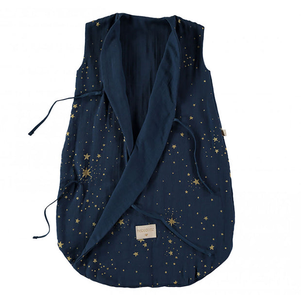 NOBODINOZ - Dreamy sleeping bag - Gold Stella / Midnight Blue- Organic cotton - Open