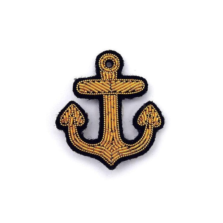 Embroidered brooch - Little gold anchor