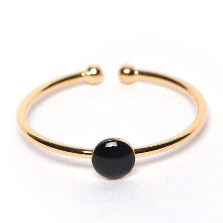 TITLEE - Elegant black and gold ring for women