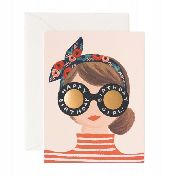 Birthday card - Headband Girl