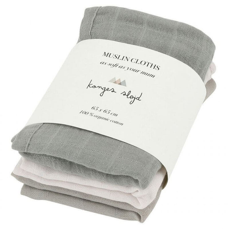 KONGES SLOJD - Set of 3 baby muslin cloths in organic cotton - Lime Stone