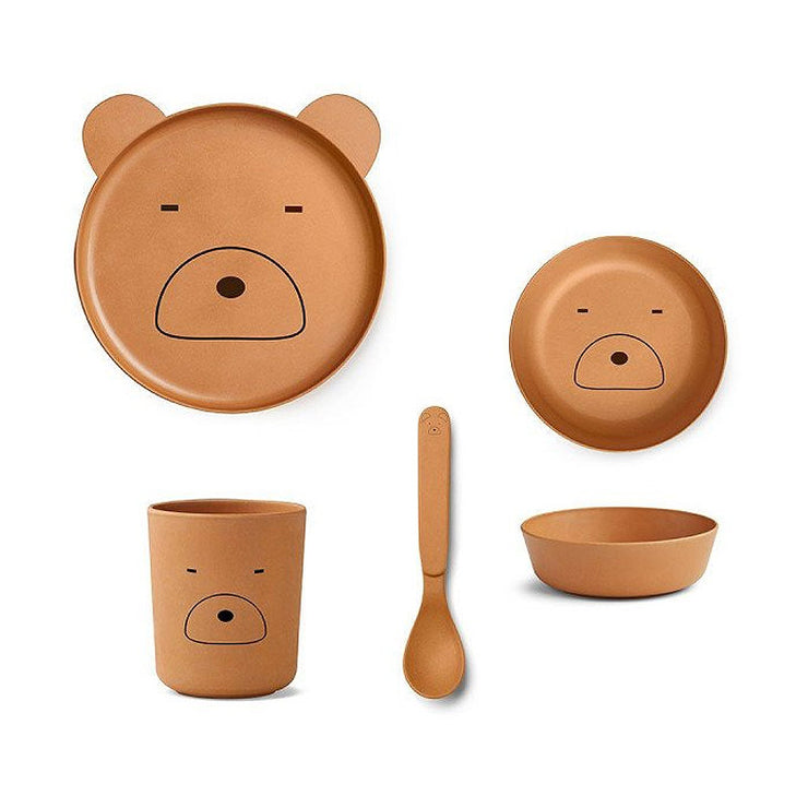 LIEWOOD - Bamboo dinnerset for kids - Bear mustard