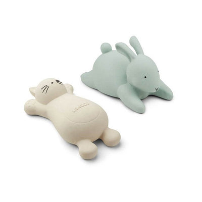 LIEWOOD - Ruber bath toys - White cat and green rabbit