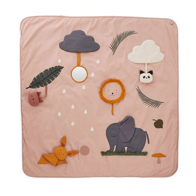 LIEWOOD - Glenn activity blanket in organic cotton with animals accessories and activties