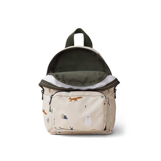 LIEWOOD - Mini backpack for toddlers made from recycled polyester with arctic animals print - Open