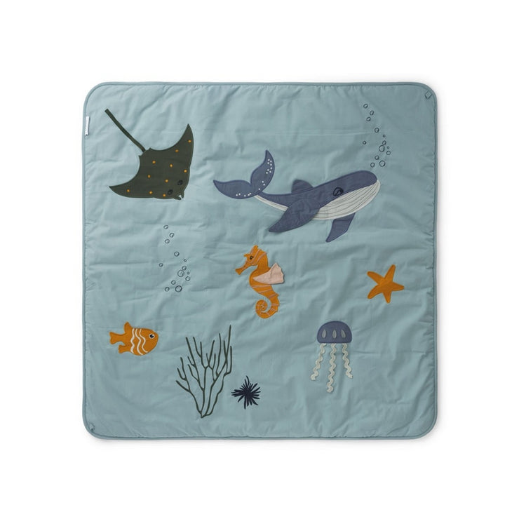 LIEWOOD - Glenn activity blanket in organic cotton with sea creatures print