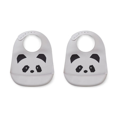 LIEWOOD - Set of 2 silicon bibs with catch-all pocket at the bottom - Grey panda
